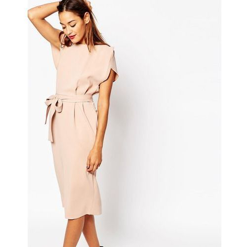 belted midi dress with split cap sleeve and pencil skirt - pink marki Asos