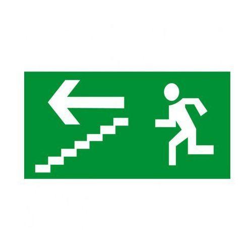 B2b partner Kierunek drogi ewakuacyjnej schodami w dół w lewo