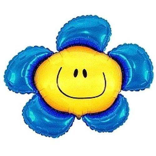 Twojestroje.pl Balon foliowy kwiatek niebieski 14'' 1szt (5905548982533)