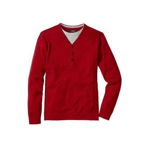 Bonprix Sweter 2 w 1 regular fit ciemnoczerwony