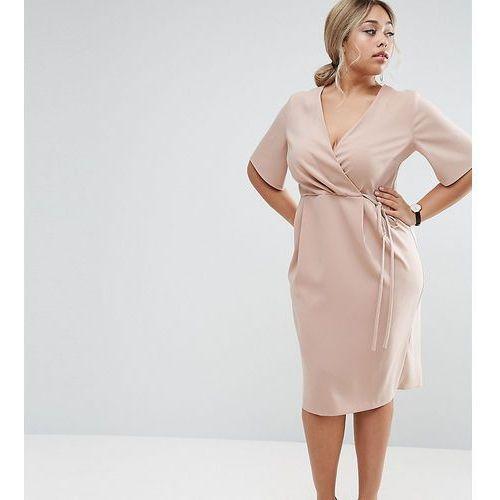 midi wrap dress with tie detail - beige, Asos curve