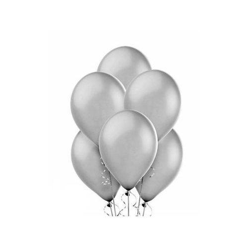 Party deco Balony lateksowe metaliczne duże - srebrne - 100 szt. (5901157461049)