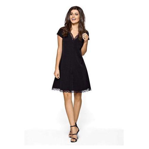 Czarna Wizytowa Sukienka Trapezowa z Koronkową Lamówką, trapezowa