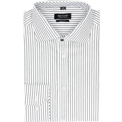 koszula spello 2044 długi rękaw slim fit granatowy, bawełna