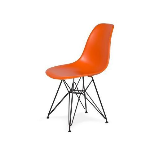 Krzesło plastikowe dsr black sycylijska pomarańcz.08 - podstawa metalowa czarna marki King home
