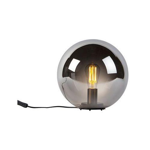 Honsel Lampa stołowa art deco czarna przydymione szkło 30cm - pallon bulla