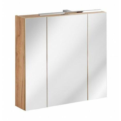 COMAD szafka wisząca z lustrem i oświetleniem Capri Oak 80 2D dąb craft złoty CAPRI OAK 843 + VIENTO 870