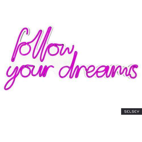 SELSEY Neon na ścianę Letely z napisem Follow Your Dreams różowy (5903025616957)
