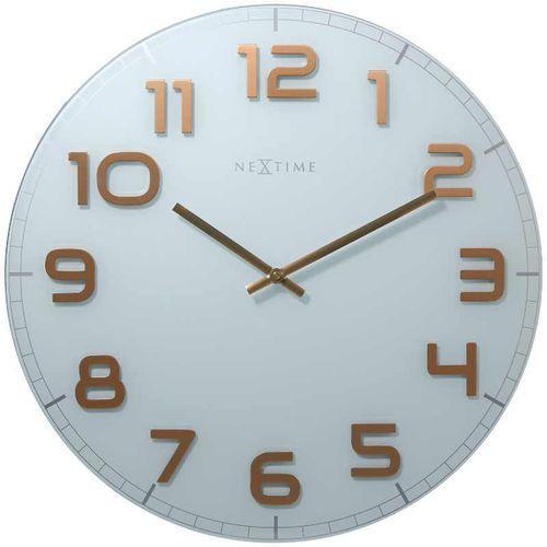 NeXtime Zegar ścienny biało - miedziany - 'Classy Round White'