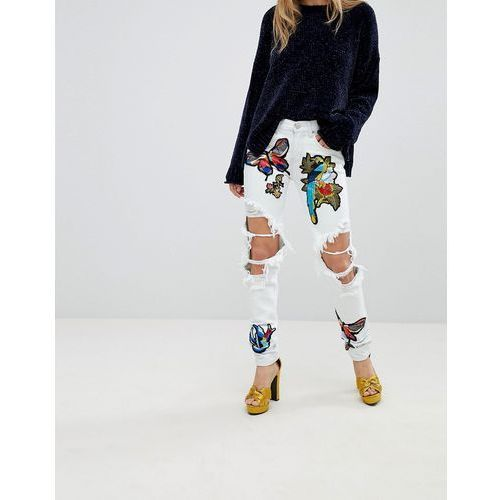 Glamorous ripped boyfriend jeans with badges - blue