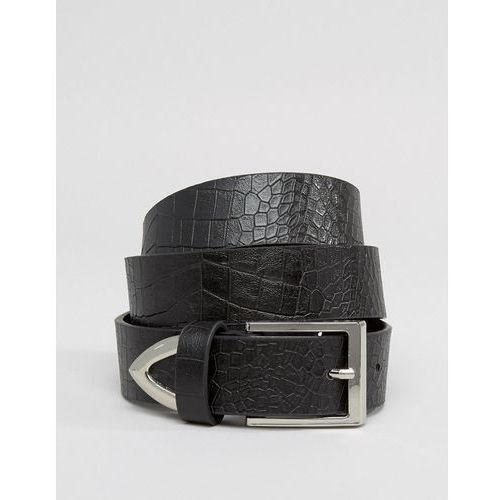 Asos faux croc tipped jeans belt - black
