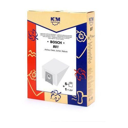 Worki do odkurzaczy K&M B01 Bosch Typ H + Filtr + Zamów z DOSTAWĄ PRZED ŚWIĘTAMI! + Zamów z DOSTAWĄ JUTRO! (5907525800649)