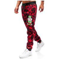 Spodnie męskie dresowe joggery moro-czerwone Denley 55095, dresowe