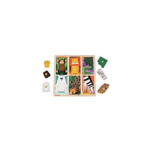 Janod Puzzle sensoryczne drewniane - zwierzątka w zoo j07081 (3700217370817)