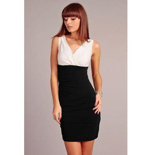 Biało-czarna Wyjściowa Drapowana Sukienka z Dekoltem
