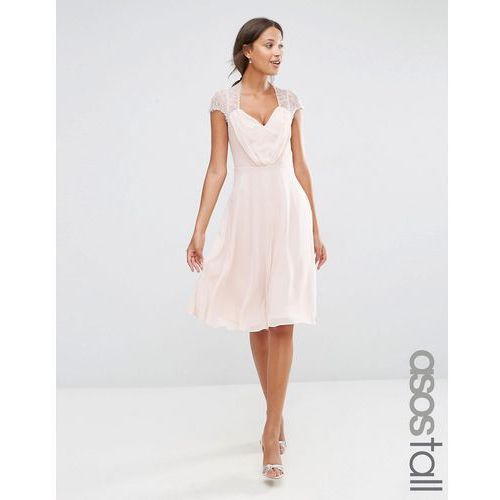 ASOS TALL Kate Lace Midi Dress - Beige, kolor beżowy