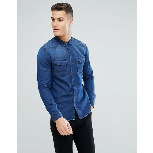 Tom tailor slim fit denim shirt with raw edge and sleeve patch - blue