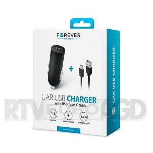 Ładowarka samochodowa Forever USB 1A M02 + kabel type-C (5900495623539)
