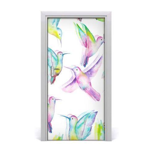 Naklejka samoprzylepna na drzwi Kolorowe kolibry