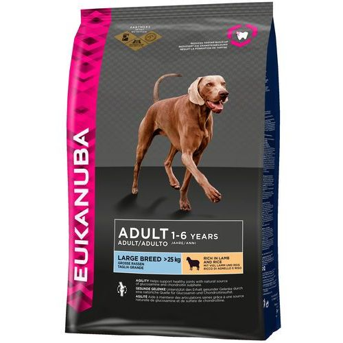 12/15 kg Eukanuba + 270 g Pedigree DentaStix Fresh gratis! - Adult Large Breed, jagnięcina i ryż , 12 kg