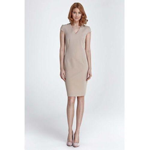 4d280e3a97 Nife Beżowa dopasowana klasyczna sukienk.