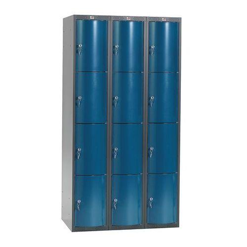 Metalowa szafa ubraniowa CURVE, 3x4 drzwi, 1740x900x550 mm, niebieski