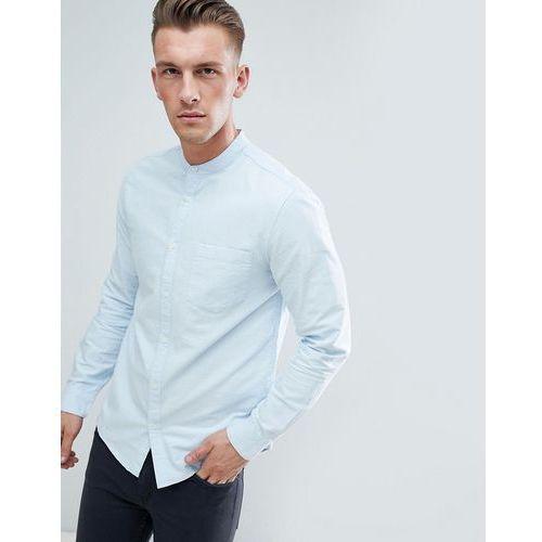 New Look Slim Fit Oxford Shirt With Grandad Collar In Light Blue - Blue, kolor niebieski