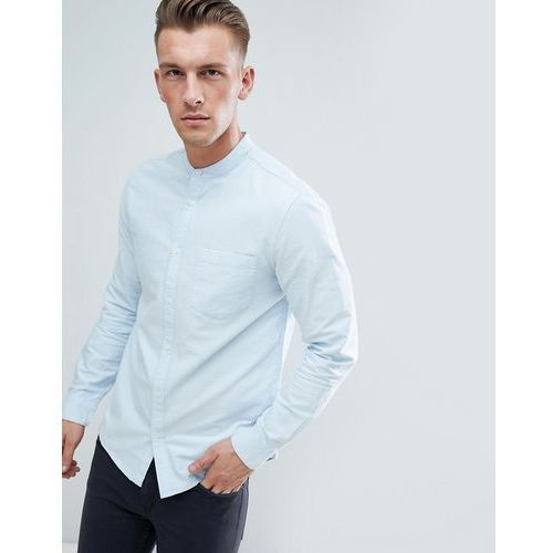 New Look Slim Fit Oxford Shirt With Grandad Collar In Light Blue - Blue