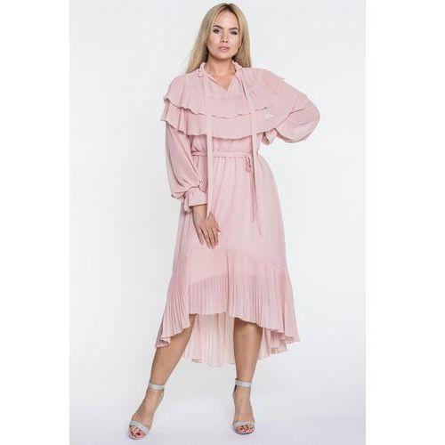 Sukienka z falbanami - Tova, kolor różowy