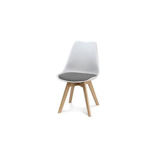 """Krzesło """"Scandi II"""" - białe s.j. szary z bukowymi nogami, kolor szary"""