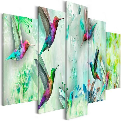 Obraz - kolorowe kolibry (5-częściowy) szeroki zielony marki Artgeist