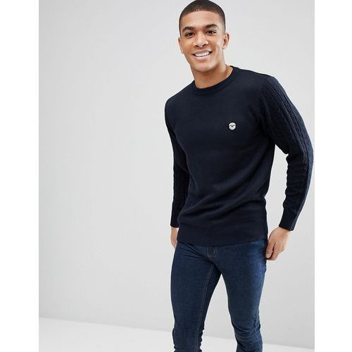 Le Breve Knitted Jumper with Contrast Cable Knit Arm - Navy