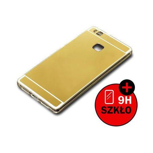Etui lustrzane mirror gel do Huawei P9 Lite Złote + Szkło hartowane - Złoty