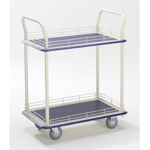 Seco Przemysłowy wózek stołowy, z dwoma piętrami, nośność 300 kg. piętra z relingiem