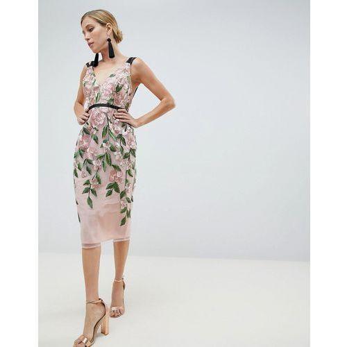 ASOS DESIGN Floral Embroidered Pencil Midi Dress - Multi
