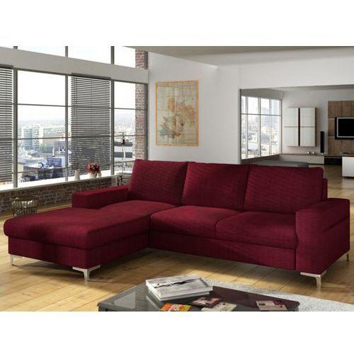 Sofa narożna rozkładana z tkaniny CHONA - Bordowy - Narożnik lewostronny, kolor czerwony