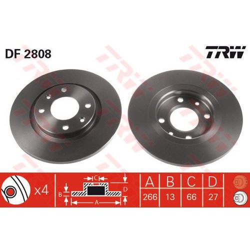 TARCZA HAM TRW DF2808 CITROEN BERLINGO 1.1I, 1.4I 96-, C2 1.1, 1.4, 1.4HDI 03-, C3 1.1I, 1.4HDI 02-