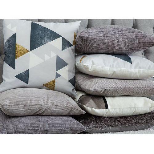 Poduszka dekoracyjna w prostokąty bawełniana szara 45 x 45 cm (4260624112275)