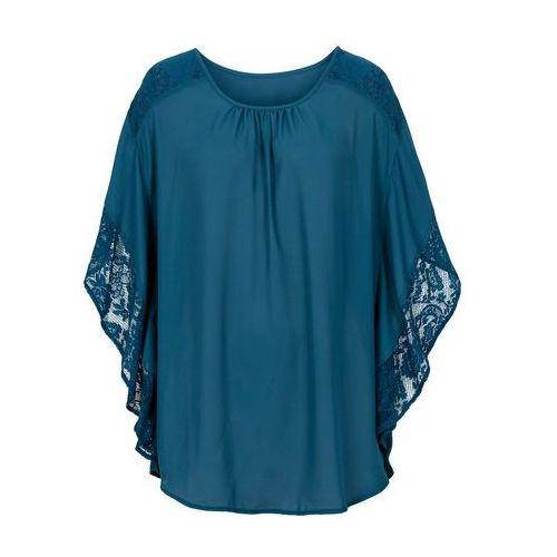 Bluzka z koronkowymi wstawkami bonprix niebieskozielony morski, w 6 rozmiarach