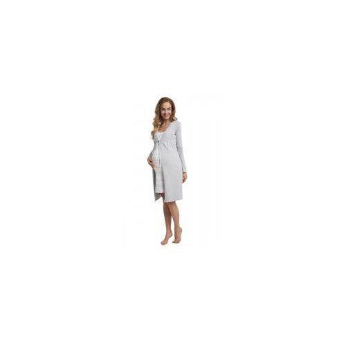 OKAZJA - Szlafrok bawełniany ciążowy - szary (melanż) marki Dolce sonno