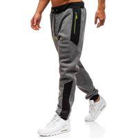 Spodnie męskie dresowe joggery grafitowe Denley TC843, kolor niebieski