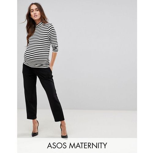 Asos maternity pull on tapered black trousers in jersey crepe - black