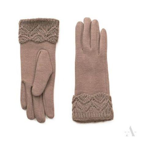 Subtelne beżowe rękawiczki damskie z koronkowym nadgarskiem - beżowy