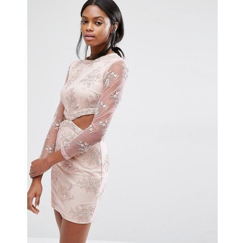 floral lace cut out mini dress - pink, Missguided