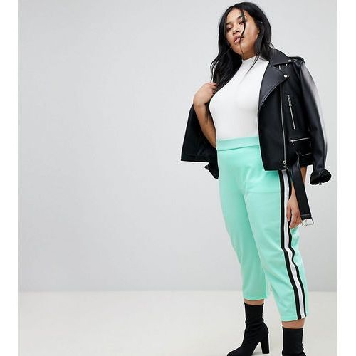 ASOS CURVE Cropped Track Pant Trousers with Side Tape - Green