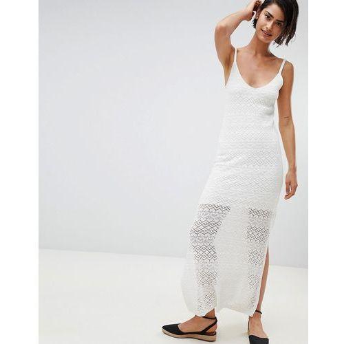 Stradivarius Knitted Dress Plain - White, w 2 rozmiarach