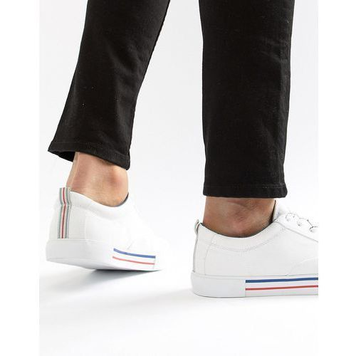 ASOS DESIGN Lace Up Plimsolls In White With Navy And Red Detailing - White, kolor biały