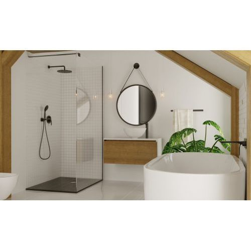 Massi Walk-In Fix Black ścianka prysznicowa 100 cm szkło przezroczyste MSKP-FA1021-100-BL, MSKP-FA1021-100-BL