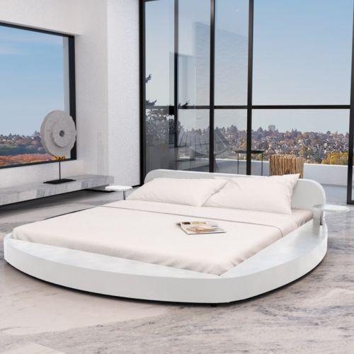 Vidaxl  białe okrągłe łóżko ze sztucznej skóry z dwoma stolikami 180 x 200 cm (8718475891284)