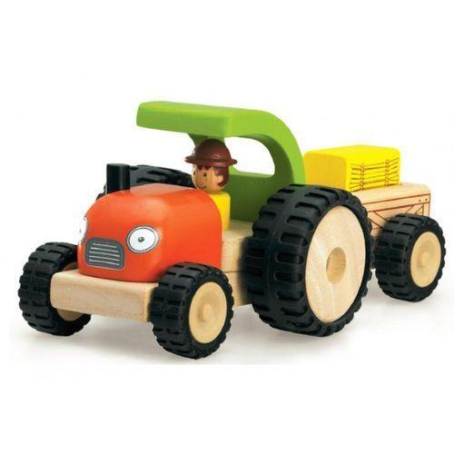 Mini traktor z doczepianą na magnes przyczepką marki Wonderworld